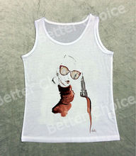 Track Ship+Vintage Retro Vest Tanks Tank Tops Simple Watercolor Orange Painting Fashion Glasses Lady Girl 1206(Hong Kong)
