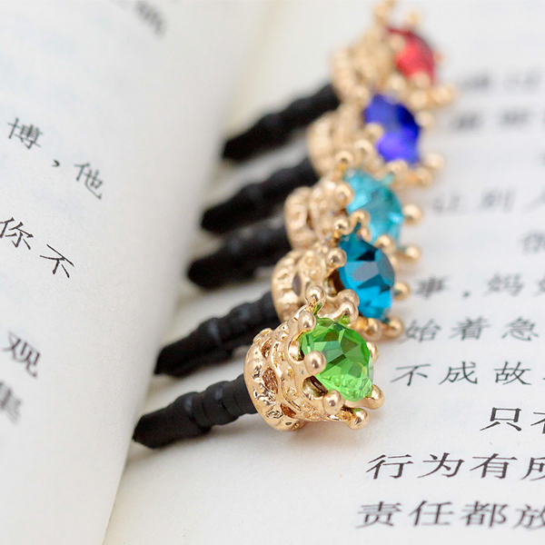 Colorful For all 3.5MM Earphone Plug Smart Phone Dust Plug Colorful Elegant Crown Shape Anti Dust Earphone Plug(China)