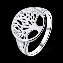 Brand New Round Life Tree Ring Men 925 Jewelry Silver Plated Tree of Life Ring Fashion Wedding Party Rings for Women Jewelry(China)