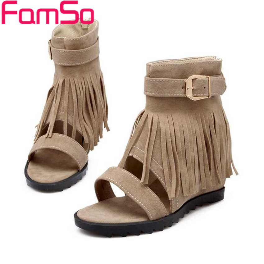 Free shipping 2017 Summer Wedges Sandals Designer tassel Shoes Peep toe Pumps Buckle Summer High Heels Sandals PS801<br><br>Aliexpress