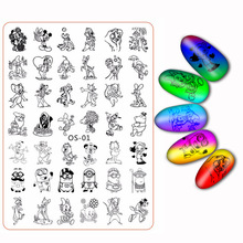 Plus Nail Stamping Plates Flower Cartoon Character Leopard Tiger Cat Mouse Fruit Manicure Transfer Template Accessory Tool New(China)