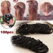 100 Pcs Kids Girl Elastic Hair Bands Ponytail Holder Head Rope Ties Headwear Hair Styling Accessories Scrunchie Black