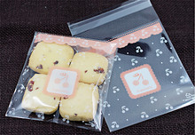 100pcs/lot 2size Pink cherry cookie packaging bags 10x11cm biscuits accessories handmade soap packaging bag