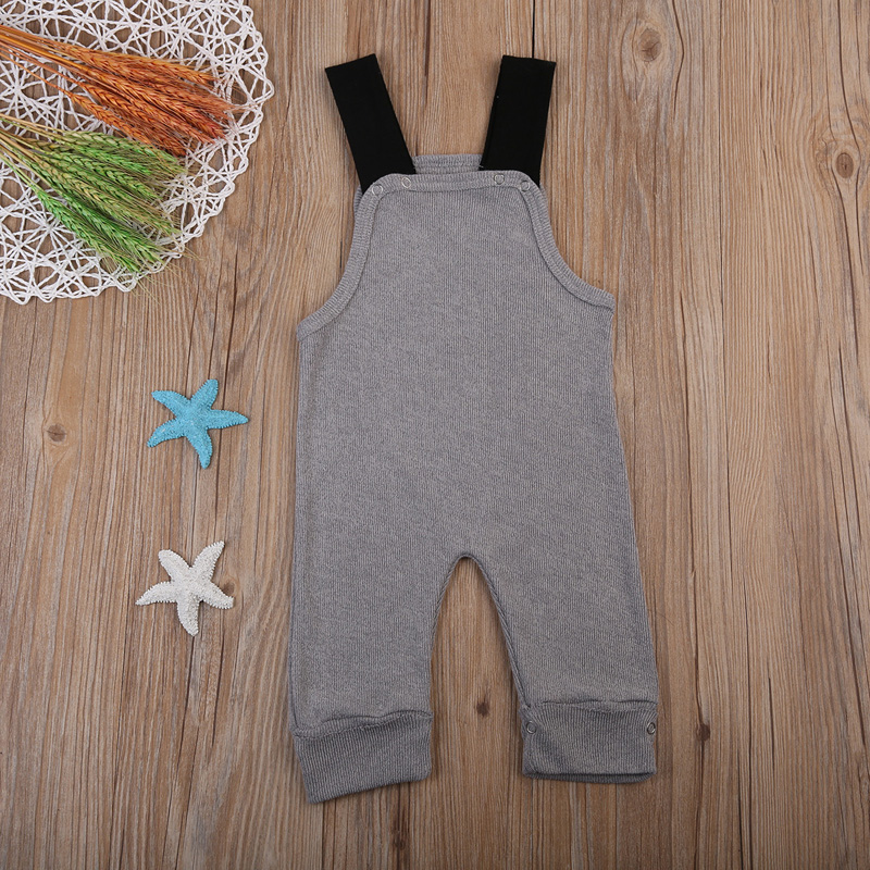 Grey 2017 Suspender Casual Newborn Toddler Baby Boy Girl Romper Jumpsuit Outfits 0-24M