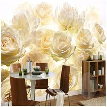 beibehang large mural decor photo wallpaper for living room backdrop Photographic HD yellow roses restaurant wall paper painting(China)