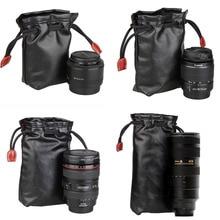 Camera Lens Bag Soft PU Leather Storage Bag Suitable Canon Nikon Sony Pentax Fujifilm Tamron Lens Pocket
