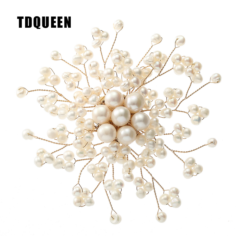 TDQUEEN Luxury Freshwater Pearl Brooches for Women High Quality Natural Pearl Baroque Brooch Hijab Wedding Safty Pin Jewelry