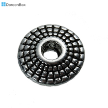 Doreen Box hot- 70 Silver Tone Flying Saucer Spacer Beads 8mm (B00051)(China)