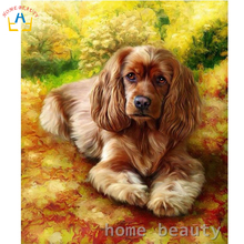 Digital oil painting by numbers animals dog canvas picture for living room acrylic coloring by number drawing craft Y096(China)