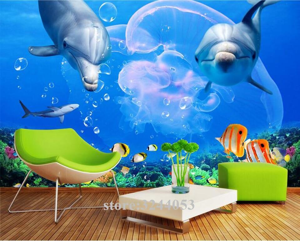 Wallpapers Youman Custom Murals 3d Photos Hd Full Hd Wallpapers Dolphin Great White Shark Underwater World Photo Wall Paper Room Photo Wall Paper 3d Wallpaperwallpaper Living Room Aliexpress