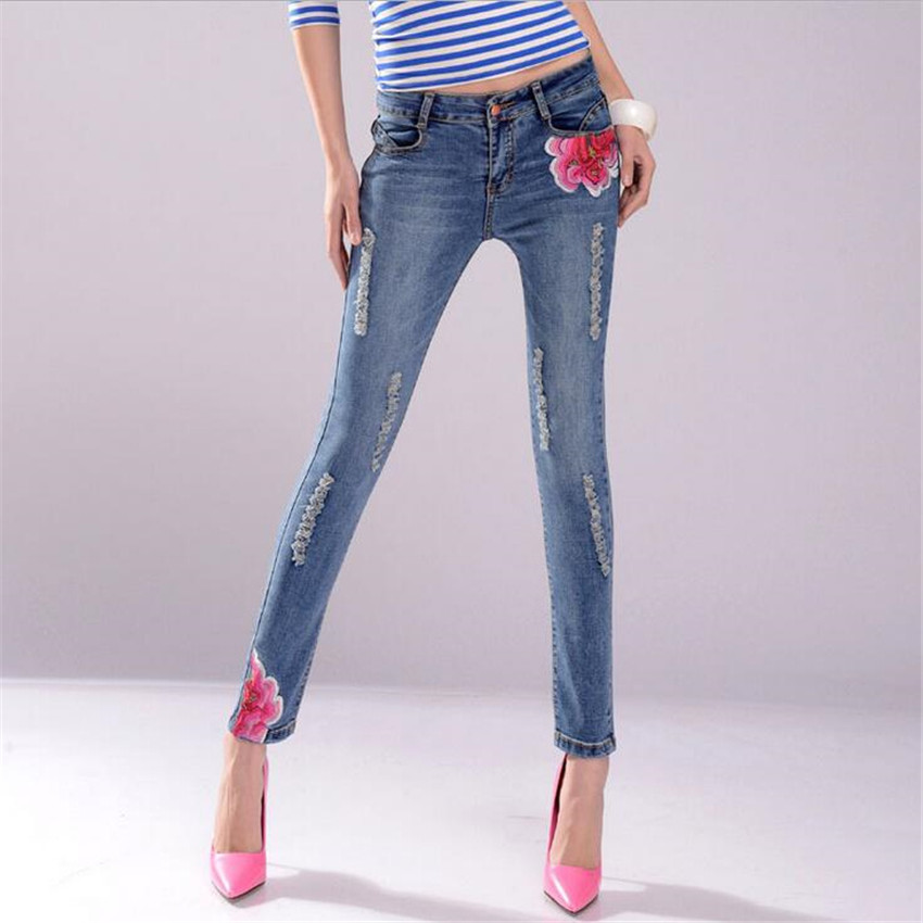 2017 new sexy fashion Embroidery Mopo Large size jeans woman ripped jeans for women american apparel vaqueros mujer denim jeanОдежда и ак�е��уары<br><br><br>Aliexpress