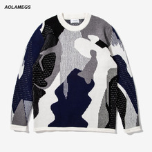 Aolamegs Casual Camo Sweater Men Street Fashion Design Youth Men's Camouflage Knitted Sweater Couples Pullovers Knitting Tops(China)