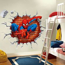 Carton Spider Man Wall Stickers for Kids Rooms Home Decoration Diy 3D Window Sticker Wall Decal for Girls Room(China)