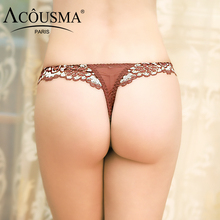 Buy ACOUSMA Women Ladies Floral Lace Hollow Panties Sexy G-String T Back Thongs Panty Seamless Summer Underwear Female Lingerie