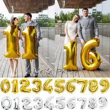 40 inches Gold Silver Number Foil Balloons Digit Helium Ballons Birthday Party Wedding Decor Air Baloons Event Party Supplies(China)