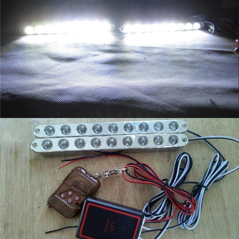 2017 NEW Wireless Remote control Super Bright 2*9 18LED DRL Daytime Running Driving Lights Fog Lamps 12V DC  Strobe Flash light<br><br>Aliexpress