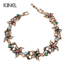 2016 New Vintage Jewelry Color Gold Colorful Resin Bohemia Bracelet For Women Mosaic White Crystal Gift(China)