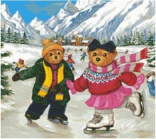 Embroidery Package Hot Sell Best Quality  Cross Stitch Kits Teddy Bear Romance ice Rink Animal Free Shipping