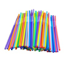 100 Pcs / Set Mix Color Extra Long Flexible Drinking Straws For Wedding Birthday Party Holiday Event Supplies Straws ZGD04