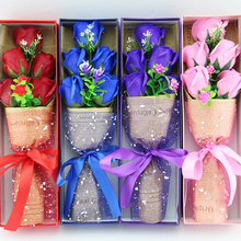 5pcs Soap Artificial Rose Flowers Petals Wedding Decorations Favors Valentines Day Gifts Scented Wreath Bath Supplies Romantic