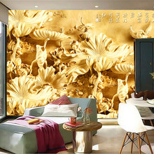 Custom 3D large mural, 3 d Chinese woodcarving murals, lotus pond papel de parede,living room sofa TV wall bedroom wall paper(China)
