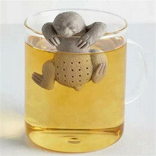 Cute Lazy Sloth Tea Infuser Reusable Silicone Tea Strainer Portable Herb Filter Tea Bag Loose Leaf Drinkware(China)