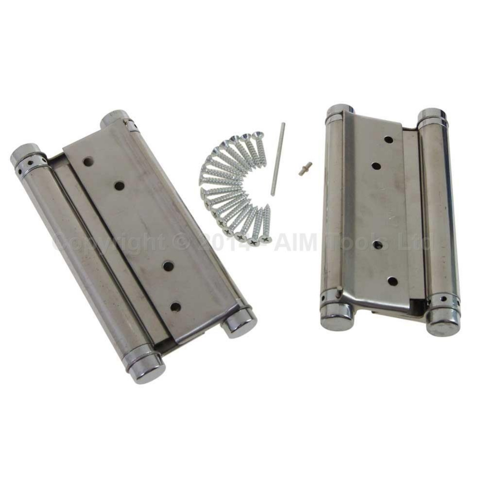 6 1 Pair Stainless Steel Sprung Hinges Double Action Swing Doors 150mm<br>