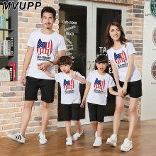 MVUPP family matching clothes short sleeve Tee Tops Captain America print family T-shirt dad mon daughter son family look casual(China)