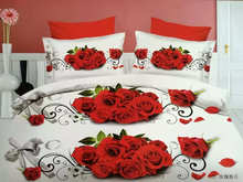 Brown bedsheet  100% cotton bed set king size Bedcover 3d Red roses bedding set luxury Duvet / quilt cover sets
