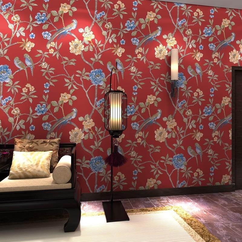 New Chinese Flower Bird Garden Non-woven Wallpaper Living Room Bedroom  TV Background Wall Paper Roll<br>