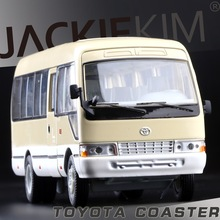 Free Shipping licensed 1:32 TOYOTA coaster bus three open door warrior acousto-optic alloy models toys kids gifts