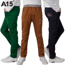 A15 Boys Pants Casual Cotton Sports Trousers Boys 2017 Spring New Fashion Teenage Children Pants Brown Big Size 10 12 14 16 Year(China)