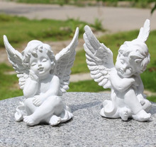 European creative handmade small angel figurines resin home ornaments crafts exquisite gift Cupid white angel statues decoration