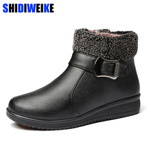 Women Winter Boots Warm Leather Snow Ankle Boots Female Shoes Australia Plush Insole Waterproof Buckle Strap Botas Mujer m171