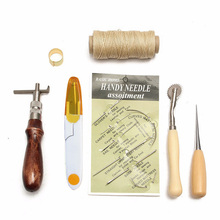 7pcs Sewing Leather Tools Carft Awl Costura Hand Stitching Set Kit Thread Awl Waxed Thimble(China)