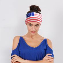 Unisex Men American Flag stripe Sports Yoga Headband Head Wrap Hair Band U.S.A National flag Hair band Scarf #45(China)