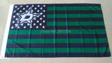 Dallas Stars with stripes and stars Flag 3x5FT NHL banner 100D 150X90CM Polyester brass grommets custom66,free shipping