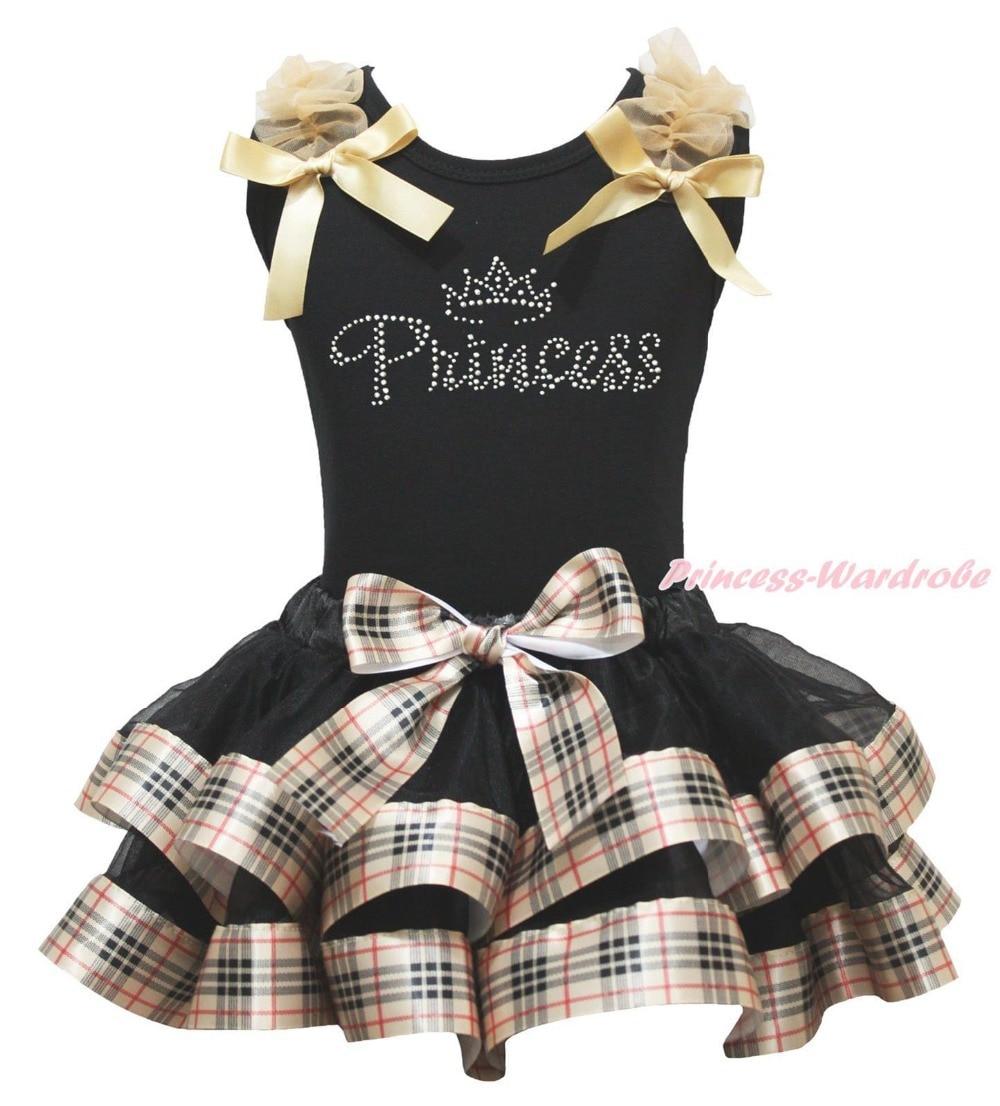 Rhinestone Princess Black Top Check Plaid Satin Trim Skirt Girl Outfit Set NB-8Y MAPSA0878<br>