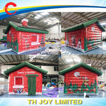 DDU inflatable santa house with free air blower / inflatable santa house tent/ inflatable christmas santa grotto for sale