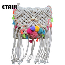 Ethnic Hippie Hobo Corss Body Bohemian Beach Bag Straw Women Crochet Fringed Pompon Tassel Luxury Brand With Logo Shoulder Bag(China)