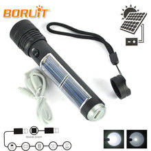 BORUIT Rechargeable LED Flashlight Solar Powered Lighting 3 Modes USB Torch Lamp Powerbank Set Outdoor Sport Fishing Exploration(China)