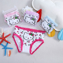 Little Girls Lace Briefs Panties Soft Cotton Cherry Kitty Underwear 4pcs 3-10Yrs Children's Underpants Under Garment Kid Clothes(China)