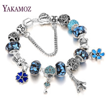YAKAMOZ 2017 Fashion European Beads Charms Bracelet DIY Key Crystal Chain Bracelets for Women Girls Gift Silver Color Jewelry(China)