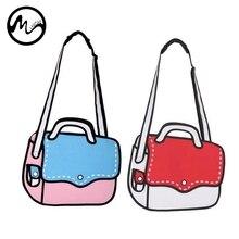 4fa2158f248f MINCH 3D Drawing Cartoon Paper Comic Handbag Women Shoulder Messenger Bag  Comic Book Bag Fashion Girls Novelty School Bag-in Shoulder Bags from  Luggage ...