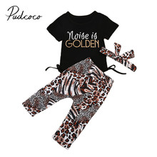 Fashion Kid Baby Girl Clothe Set Rompers+Leopard Leggings Pants+Headband 3Pcs Outfits