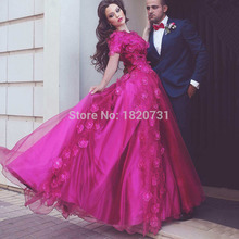 Said Mhamad Inspired 3D Appliques Evening Dresses O Neck Luxury Flowers Short Sleeves Formal Gowns Cheap From China Online Shop