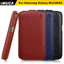 Leather Case for Samsung Galaxy Win duos i8552 i8550 GT-I8552 IMUCA Vertical Flip Cover Pouch mobile phone Skin Protective Shell(China)