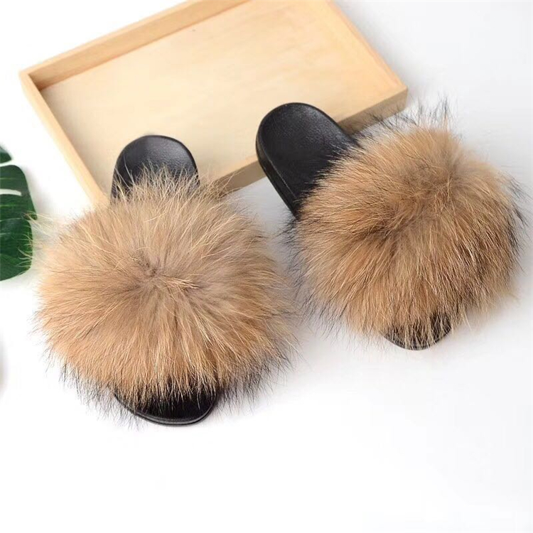 raccoon fur slippers (1)