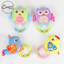 Baby Infant Toy Soft Plush Handbells Rattles Cartoon Owl Bird Mobiles Newborn Toddlers Educational Toys Ring Bell Christmas Gift