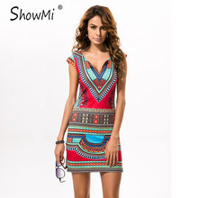 New Ladies Summer Dress Casual 2017 Short V-neck Sexy African Dresses Dashiki Traditional Print Mini Womens Beach Dress Vestidos(Hong Kong)